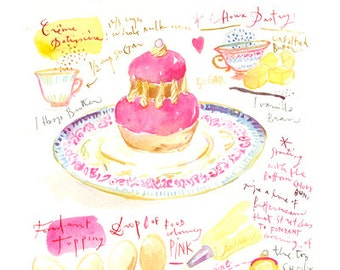 Pink religieuse recipe print, 8X10 Kitchen poster, Watercolor painting, Wall decor, Bakery art, kitchen art