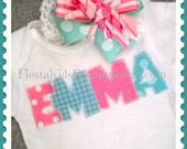 Baby girl outfit, infant girl clothes, girl bodysuit with name, birthday girl outfit, ruffled diaper cover, leg warmers, hair bow