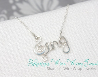 """Treble Clef """"Sing"""" Necklace, Sterling Silver"""