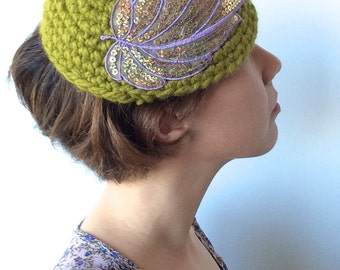Beautiful Earthy Green Crochet Cloche with Lavender and Sequins Leaf, Fall Accessories, Leaf hat, Sequin Cap