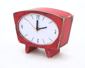 FREE SHIPPING - Desk Clock, Wood Clock,  Red clock, vintage 60s style , Small clock , Wooden Clock, Table Wood Clock, Unique Gift Clock