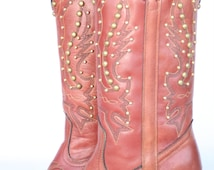 MINT Beautiful Sexy vintage Miss Capezio Studded leather womens cowboy boots 7 M