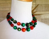 Coro Moonglow Necklace * Red & Green * Vintage 1950s Multi Strand Choker
