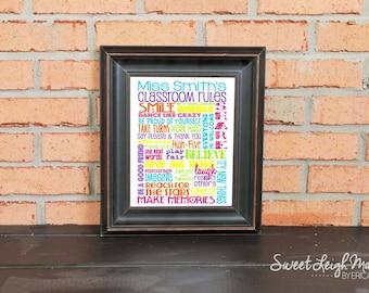 TEACHER GIFT - Classroom Rules for Preschool or Elementary School – Personalized Sign – Preschool Rules – Add Teacher's Name – Classroom Art
