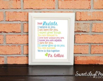 Dear Students... – Personalized Sign – Classroom Art – Motivational - Inspirational - Include Teacher's Name – Classroom Rules