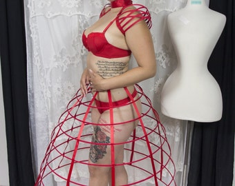 Red color hoop skirt cage pannier 8 rows plastic boned crinoline 31 inches long