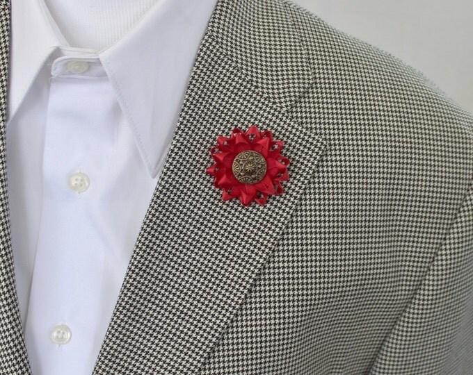 Red Lapel Flower for Men, Mens Flower Lapel Pin, Men's Lapel Flower, Red Boutonniere, Red Lapel Pin, Dark Red Flower, Custom Lapel Pin