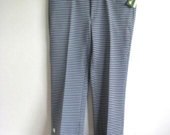 Vintage 1970s Mens Pants Deadstock Baycrest Blue Check Poly Knit Pants 29