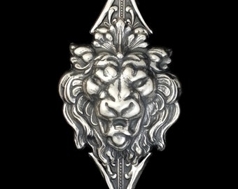 Silver Lion Pin Courage without Arrowgance Pin by Dr Brassy Steampunk Silver Lion Head with double tipped arrow brooch