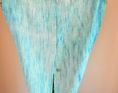 Hand Woven Ikat Scarf / Turquoise Infinity Scarf / Hand Dyed Scarf / Hand Painted Rayon Silk Warp / Gifts or Mom / Christmas Gift