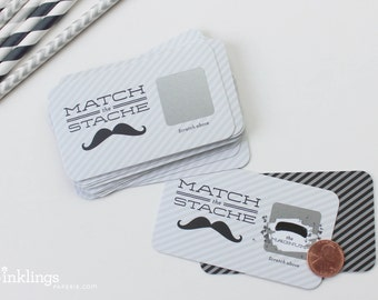"SALE! 24 ""Match the Stache"" Scratch Off Cards // Mustache Party // Mustache Baby Shower"