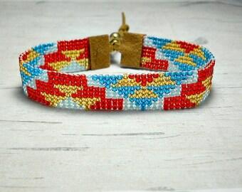 Geometric Bracelet - Boho Bracelet -  Rustic Bracelet - Hippie Bracelet - Bead Bracelet - Gifts For Her - Gifts Under 25 - Holiday Gifts