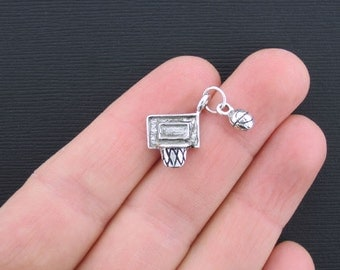 8 Basketball and Hoop Charms Antique Silver Tone 2 Piece Dangle Outstanding Charm - SC3354