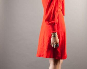 SALE 80's Lipstick Red Knit Dress