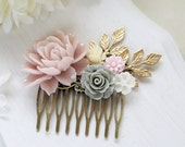 Pink Grey Ivory Flower Hair Comb Dusty Pink Rose Gold Brass Leaf Hair Comb Wedding Hair Accessory Bridal Hair Comb Blush Pink Wedding