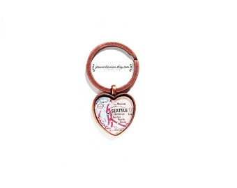 Seattle Heart Keychain Custom Map Location in Antique Copper. Any Location.