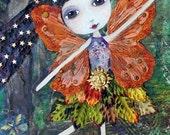 WoodLand Fairy SUNSHINE - ACEO / ATC Print - Magical Garden Fairies, Garden, Inspirational Motivational Art, Unique Mixed Media Art, Recycle