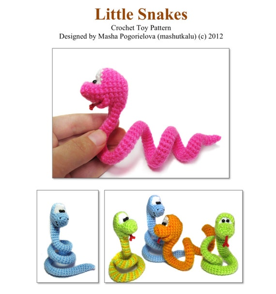 Crochet Toys : Little Snake - pdf crochet toy pattern - amigurumi pattern - photo ...