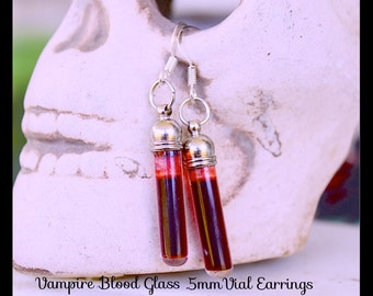 Vampire Blood Earrings,  Realistic Blood Glass .5mm vial,  , Goth , By: Tranquilityy
