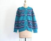 chunky wool hand knit unisex cardigan - Guatamalen / Hippie Sweater - festival / teal blue - ladies fair isle