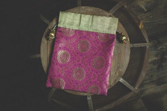 Indian Wedding Gift Bags: Indian Sari Saree Pink Magenta Gold Brocade Silk Gift Party