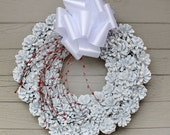 White Glitter Pinecone Wreath, White Berries, Red Berry Spray and White Bow