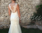 lace wedding dress flapper bridal gown fishtail mermaid style floral boho simple low back open back ivory beach ethereal : LEILA Custom Size
