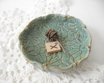 Soap Dish with Lace Impression, Turquoise, Hand Built