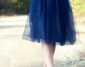 Navy Blue Tulle Skirt // Blue Bridesmaid's Tulle Skirt  // Elastic Waistband // Midi Hem