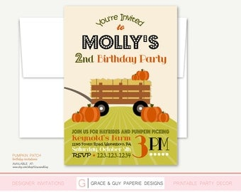Pumpkin Patch Party - Printable Birthday Invitation
