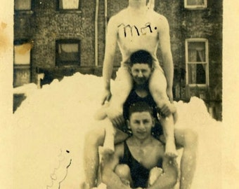 "Vintage Photo ""Interesting Story Awaits"" Winter Snow Snapshot Photo Antique Black & White Photograph Found Paper Ephemera Vernacular - 32"