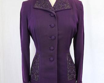 1940s Purple Beaded Jacket Blazer