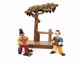 1970s Anri Tree Stand Diorama / Wooden Clowns / Vintage Anri Carvings Hand Carved Musical Clown Figurines