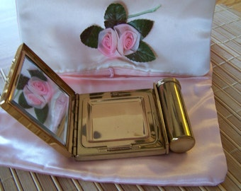 """Vintage 40's """"KOTLER & KOPIT""""  Novelty Powder Puff Mirror Compact with an Attached Lipstick Holder  Rare Find"""