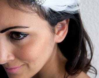 White and Champagne Feather Clip - Bridal Feather Clip w/pearls