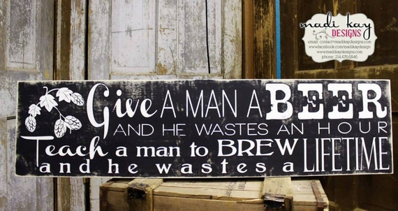Sayings For Man Cave Signs : Items similar to man cave beer sign inspirational