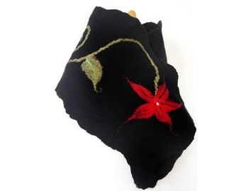 Hand felted black scarf with red flower and green spiral stem