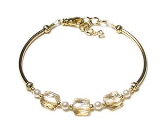 Crystal Bracelet, Golden Shadow Swarovski Crystal & Cream Pearl Adjustable Gold Charm Bracelet, Gold Bracelet, Pearl Jewelry, Ivory Wedding