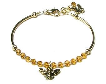 Honey Bee Beaded Bracelet, Honey Drop Bracelet, Swarovski Crystal Gold Honeybee Bracelet, Amber, Topaz, Bee Charm, Gift For Teacher, Nature
