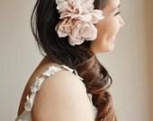 Blush flower bridal hair comb wedding head piece