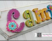 Custom modern vintage, name plaque, made to order girls wall letters, distressed sign, personlized heirloom children's nursery art and decor