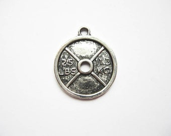 4 Barbell Weight Charms / Pendants in Silver Tone - C1865