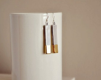 Geometric bar earrings - ceramic long earrings - sterling silver earring hoops - ceramic jewelry - 24K gold