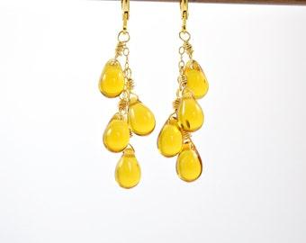 Honey Drop Earrings - Golden Honey Glass Drop Cluster Earrings, Gold Earrings, Yellow Glass Earrings, Glass Teardrop Earrings, Autumn Colors