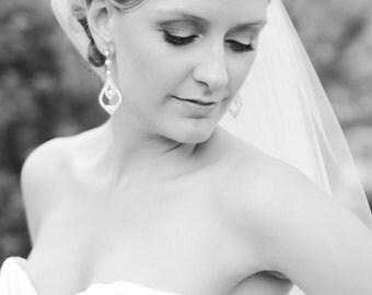 RABEA, Vintage Style Wedding Stud Earrings, Swarovski Crystal and Pearl Bridal Dangle Earrings, Statement Bridal Wedding Jewelry
