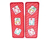 Christmas Penguins: Paper Bookmarks Set of 2- approx. 2 1/2 x 7 inches