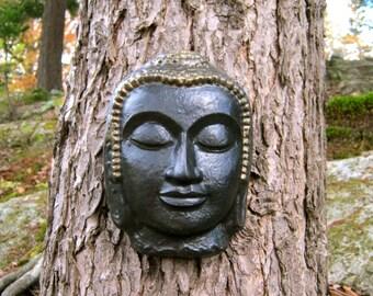 Buddha Face, Hanging Concrete Garden Decor