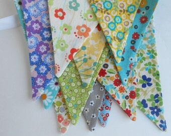 Fabric Banner /Shabby Chic Banner/ Country Chic Floral Bunting / Bunting Fabrics/ Photo Prop/   Large Flags