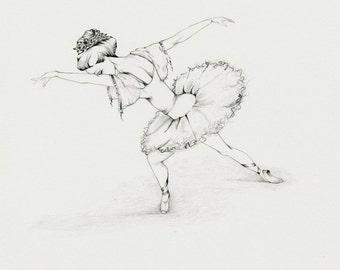 Ballerina Fine Art OOAK Original Pencil Drawing Illustration Sketch Art for Her a Ballerina Drawing Dancer Wall Art Girls Room