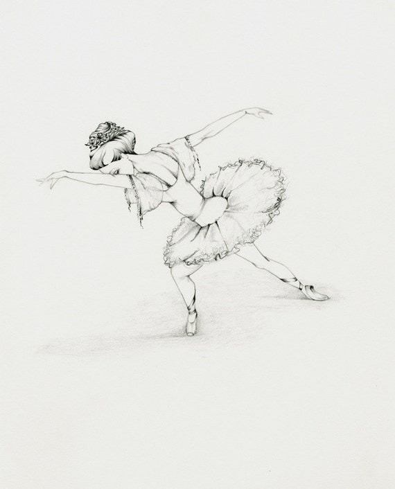 Ballerina Fine Art OOAK Original Pencil Drawing Illustration Sketch Art for Her a Ballerina Drawing Dancer Wall Art Girls Room